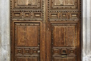 Old brown door, vertical image