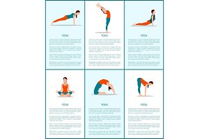 Yoga Poses Collection, Flexible Woman, Color Card