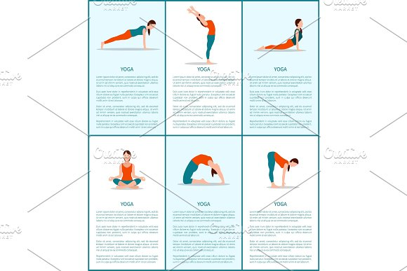 Yoga Poses Collection Flexible Woman Color Card
