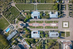 Aerial view exhibition center and park in the city of Kiev. Photo from the drone