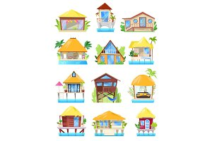 Villa vector tropical resort hotel on ocean beach or facade of house building in paradise illustration set of bungalow in village isolated on white background