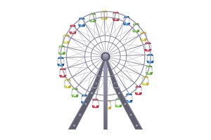 Ferris big observation rotating wheel with multiple passenger-carrying cars