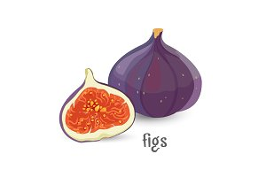 Figs whole and cut healthy organic fruit with seeds