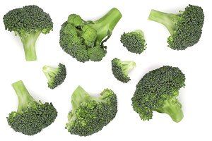 fresh broccoli isolated on white background. Top view. Flat lay pattern