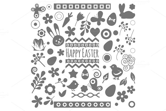 Easter Eggs Vector Floral Decor Elements Silhouette Painted Spring Pattern Decoration Vintage Ornament Organic Food Holiday Game Symbol Illustration