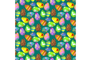 Easter eggs vector painted with spring decoration retro multi colored vintage ornament organic food holiday game seamless pattern background illustration.
