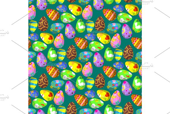 Easter Eggs Vector Painted With Spring Decoration Retro Multi Colored Vintage Ornament Organic Food Holiday Game Seamless Pattern Background Illustration
