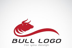 Vector of red bull design. Animals.