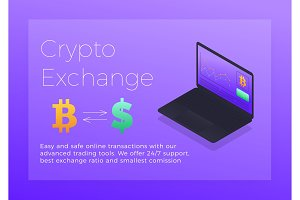 Crypto exchange isometric illustration. Cryptocurrency Bitcoin trading platform concept