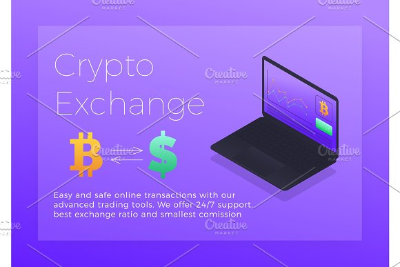 Crypto Exchange Isometric Illustration Cryptocurrency Bitcoin Trading Platform Concept