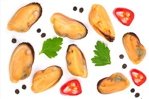 mussels with parsley and peppercorns isolated on white background with copy space for your text. Top view. Flat lay