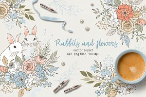 Rabbits and flowers (eps and png)