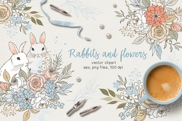 Illustrations and Illustration Products: long summer - Rabbits and flowers (eps and png)
