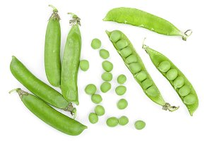 Fresh green pea pod isolated on white background. Top view. Flat lay