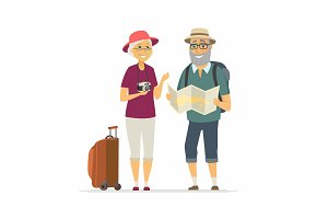 Senior tourists - cartoon people character isolated illustration