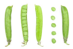 Fresh green pea pod isolated on white background. Set or collection. Top view. Flat lay pattern