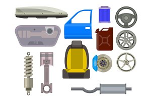 Car vector parts auto repair service vehicle mechanic repair of machines and equipment motocar illustration