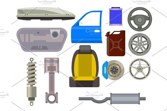 Car Vector Parts Auto Repair Service Vehicle Mechanic Repair Of Machines And Equipment Motocar Illustration