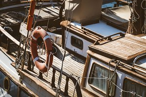 Wooden deck of an old sailboat