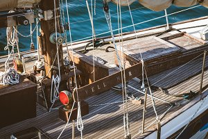 Deck of an old wooden sailboat