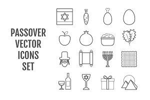 16 vector line Passover icons
