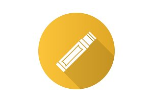Chewing gum stick flat design long shadow glyph icon