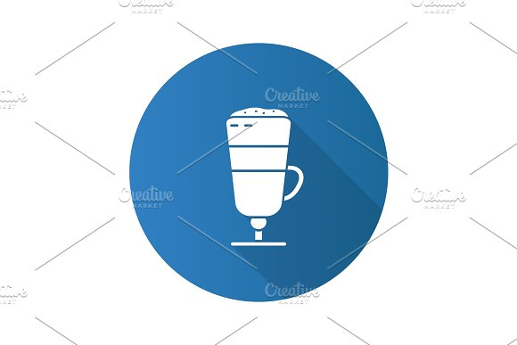 Latte Macchiato Flat Design Long Shadow Glyph Icon