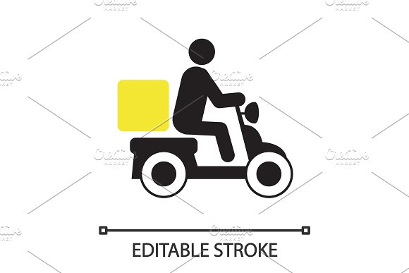 Person Driving Delivery Scooter Silhouette Icon