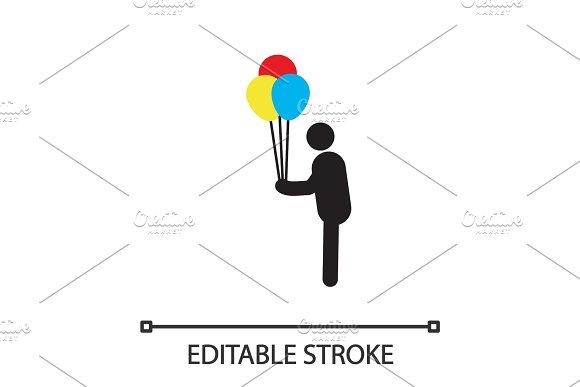 Man Holding Air Balloons Silhouette Icon