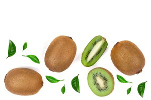 Kiwi fruit with slices decorated with leaves isolated on white background with copy space for your text. Top view