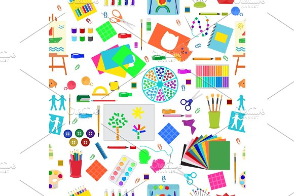Kids Creativity Creation Symbols Artistic Objects For Children Creativity Handmade Work Art Vector Illustration Seamless Pattern Background