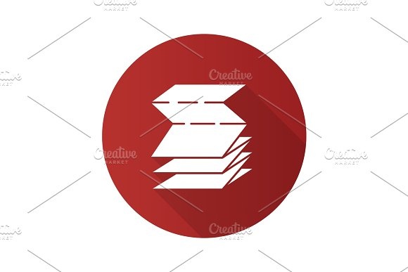 Folded Paper Leaflet Flat Design Long Shadow Glyph Icon