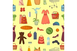Web shopping vector set food and commerce products shop icons seamless pattern background dress, toys, goods