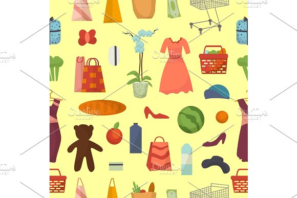 Web Shopping Vector Set Food And Commerce Products Shop Icons Seamless Pattern Background Dress Toys Goods