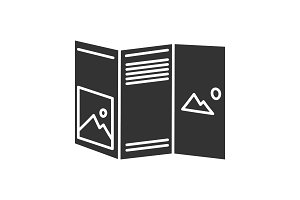 Folded brochure mockup glyph icon