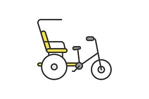 Cycle rickshaw color icon