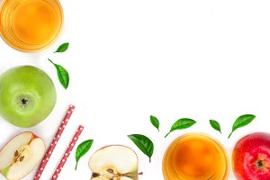 apple with juice and leaves isolated on white background with copy space for your text. top view. Flat lay pattern