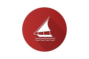 Sailing boat flat design long shadow glyph icon