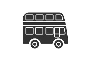 Double decker bus glyph icon