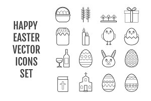 Set of 16 vector line Easter icons