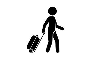 Man with a suitcase icon. Traveler