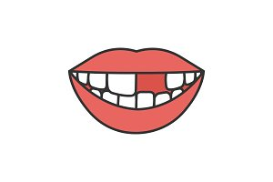 Smile with missing tooth color icon