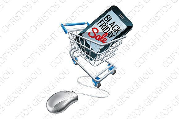 Black Friday Sale Phone Trolley Mouse Sign