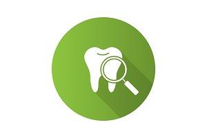 Teeth medical check flat design long shadow glyph icon