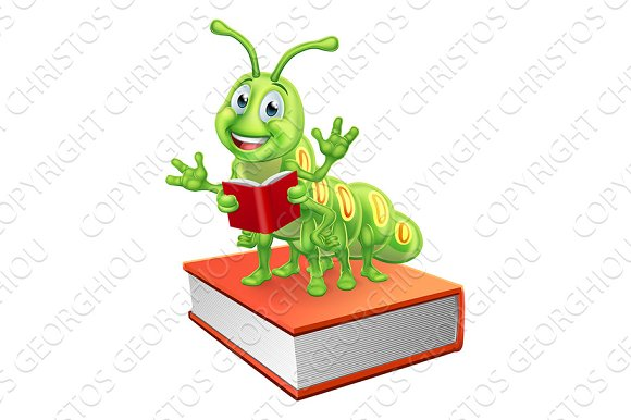 Bookworm Worm Caterpillar On Book Reading