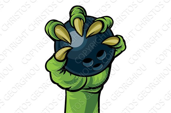 Claw Monster Hand Holding A Bowling Ball