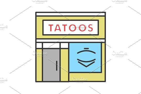 Tattoo studio facade color icon