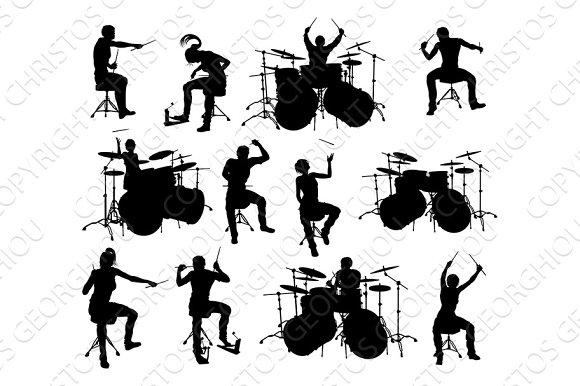 Musician Drummer Silhouettes