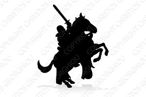 Silhouette Knight on Horse