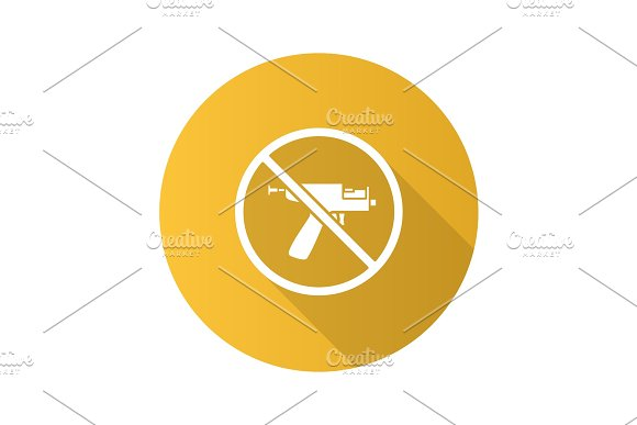 Forbidden Sign With Piercing Gun Flat Design Long Shadow Glyph I